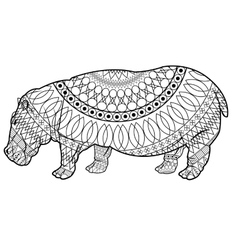 Black and white hippo design vector