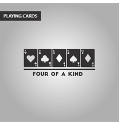 Black and white style poker four of a kind vector