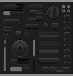 black interface buttons 3d set of ui icons vector image