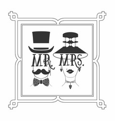 black silhouette elegant mr male and mrs female vector image
