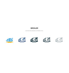 Broiler icon in different style two colored and vector