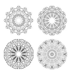 calligraphic circle lace patterns in monochrome vector image
