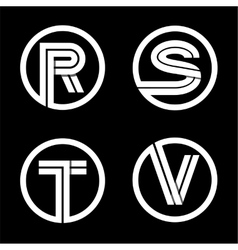 Capital letters R S T V Double white stripe vector
