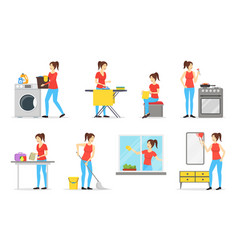 cartoon color characters woman housewife set vector image