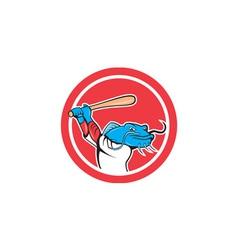 Catfish baseball player batting cartoon vector