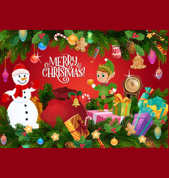 christmas gifts and xmas tree with snowman and elf vector image