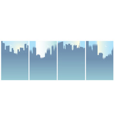 city skyscrapers silhouettes skyline set perfect vector image