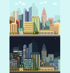 cityscape in day and night skyscrapers and urban vector image
