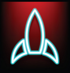 creative rocket neon style on the red wall vector image