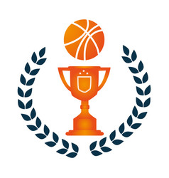 Crown of leaves with trophy with basketball vector