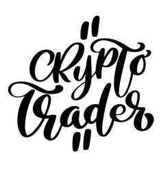 Crypto trader hand written calligraphy text logo vector