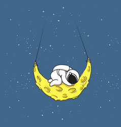 Cute astronaut sleeps on crescent moon vector