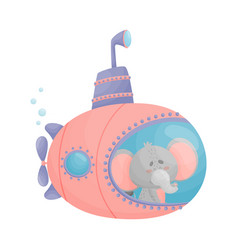 Cute elephant looking out submarine window vector