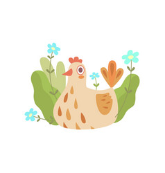 cute nesting hen symbol of spring vector image
