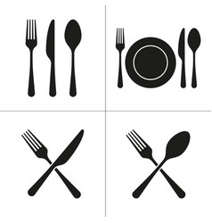 Cutlery icons with fork knife spoon plate vector