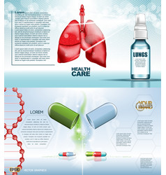 digital red medicine lungs structure vector image