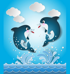 dolphins in seascape cut style vector image