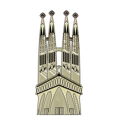 Doodle sagrada familia in barcelona sky tower vector