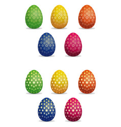 easter eggs icons set star pattern on easter eggs vector image