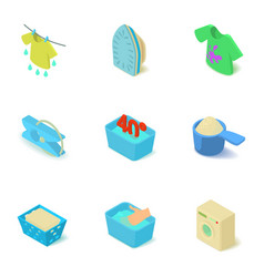 Easy washing icons set isometric style vector