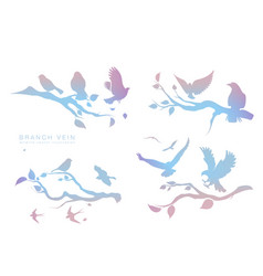 figure set multicolored flock flying birds on vector image