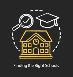 Finding good schools chalk concept icon choosing vector