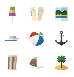 flat icon beach set of beach sandals coconut vector image