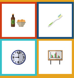 flat icon oneday set of whiteboard watch beer vector image