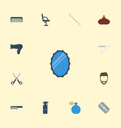 flat icons razor comb blade and other vector image
