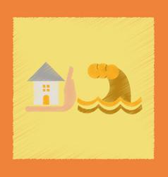 Flat shading style icon flood house vector
