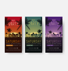 Flyer templates for a summer party design of vector