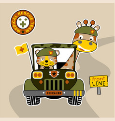 Giraffe and tiger soldiers on military jeep vector