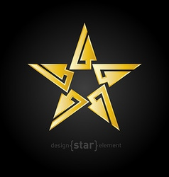 Gold Abstract star with arrows on black background vector image