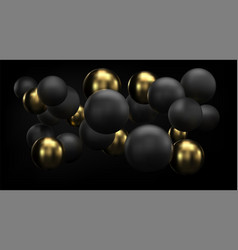 Golden and black abstract background with 3d vector