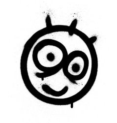 graffiti funny emoji sprayed in black on white vector image