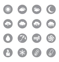 Gray flat weather icon set vector
