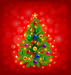 Green decorated Christmas tree on red background vector image