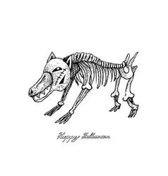 Hand drawn of dog skeleton for halloween celebrati vector