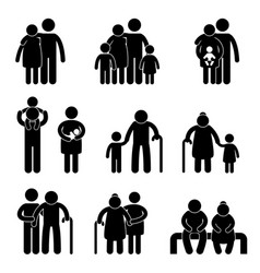 happy family icon sign symbol a set pictograph vector image