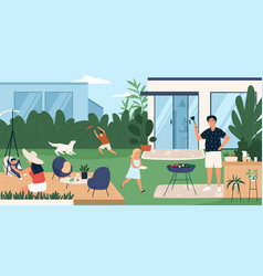 Happy family spending time in backyard mother vector
