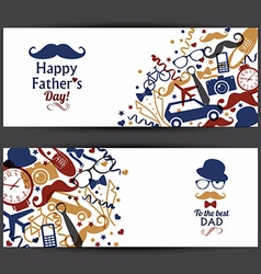Happy fathers day banners set vector