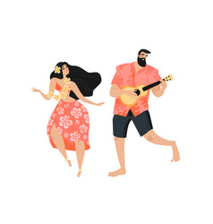 Hawaiian party concept with a man playing the vector