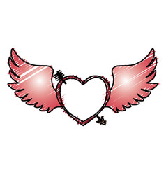 Heart love with wings vector