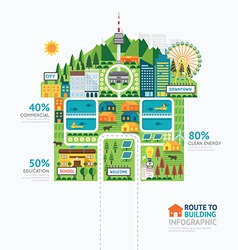 Infographic business building house shape template vector image