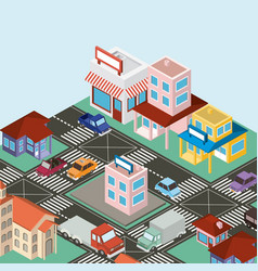 isometric city scene icons vector image