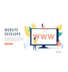 Landing page template of website on desktop vector