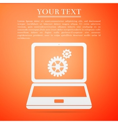 Laptop and gears flat icon on orange background vector image