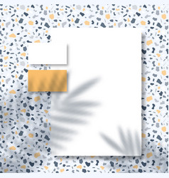 letterhead and business cards on terrazzo pattern vector image