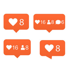 likes set of counter notification vector image