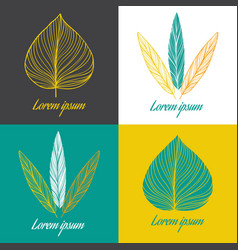 logo design element set feather and leaf vector image